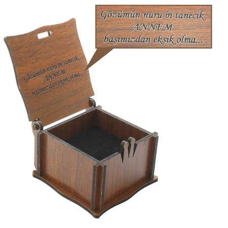 Özel Mesaj Yazılı Kahverengi Ahşap Hediye Yüzük-Alyans Kutusu (M-3) - Thumbnail