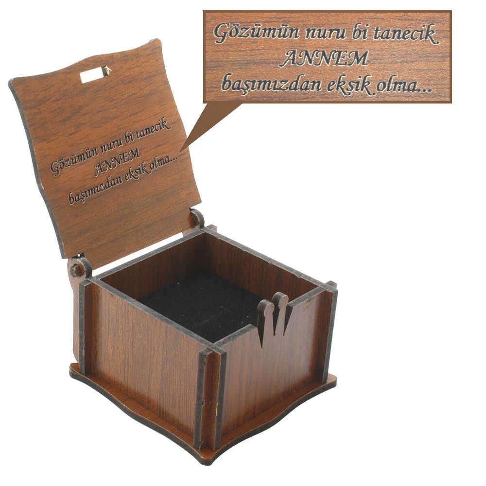Özel Mesaj Yazılı Kahverengi Ahşap Hediye Yüzük-Alyans Kutusu (M-3)