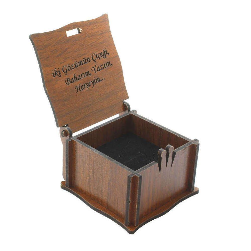 Özel Mesaj Yazılı Kahverengi Ahşap Hediye Yüzük-Alyans Kutusu (M-4)