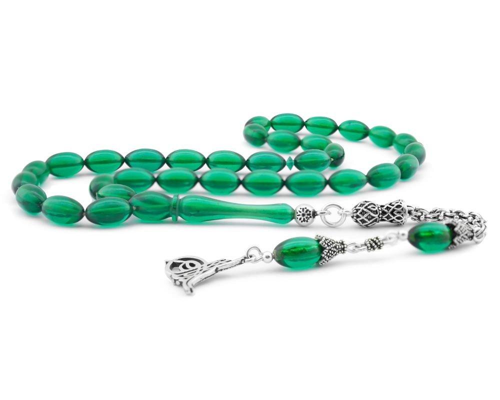 925 Ayar Gümüş Tuğra Püsküllü Arpa Kesim Yeşil Sıkma Kehribar Tesbih