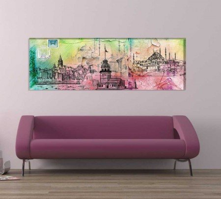 Özel Tasarım İstanbul Temalı Kanvas Tablo - Thumbnail