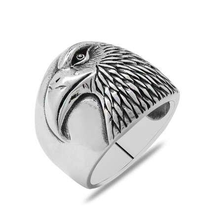 Özel Tasarım Kartal Temalı 925 Ayar Gümüş Erkek Yüzük - Thumbnail