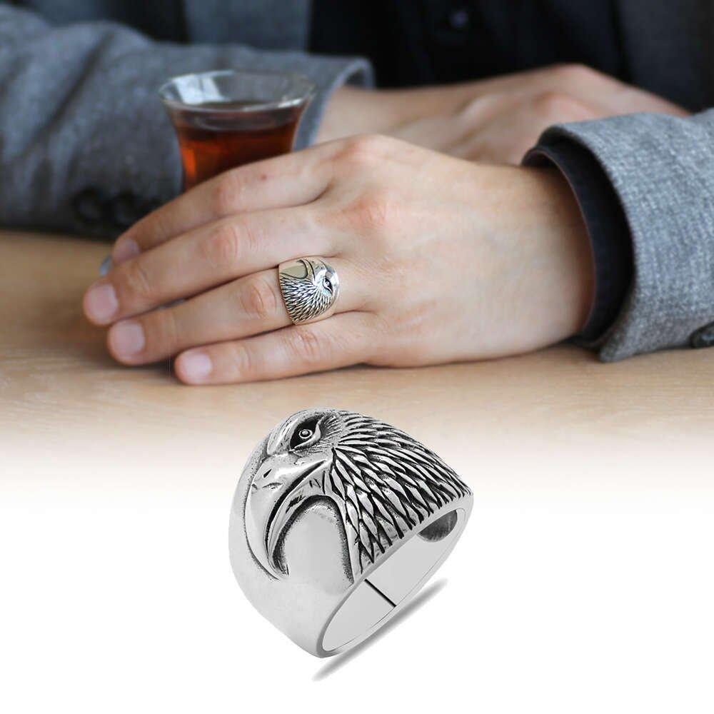 Özel Tasarım Kartal Temalı 925 Ayar Gümüş Erkek Yüzük