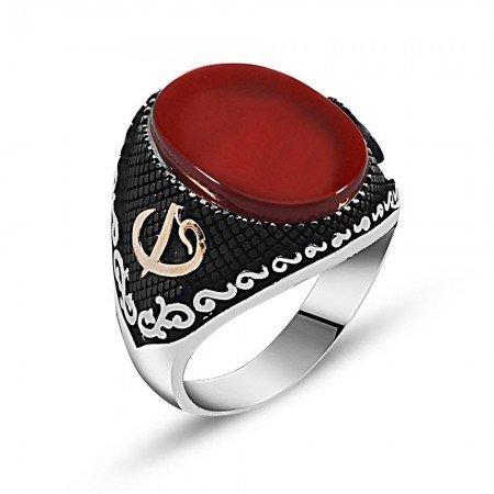 Özel Tasarım Kırmızı Akik Taşlı Gümüş Yüzük - Thumbnail