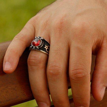 Özel Tasarım Kırmızı Zirkon Taşlı Gümüş Pençe Yüzük - Thumbnail
