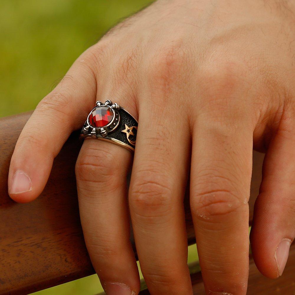 Özel Tasarım Kırmızı Zirkon Taşlı Gümüş Pençe Yüzük