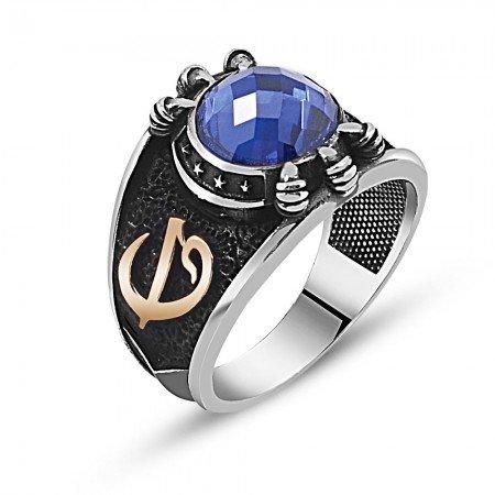 Özel Tasarım Mavi Zirkon Taşlı Gümüş Pençe Yüzük - Thumbnail