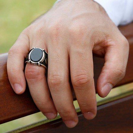 Özel Tasarım Oniks Taşlı Gümüş Pençe Yüzük (Model-2) - Thumbnail