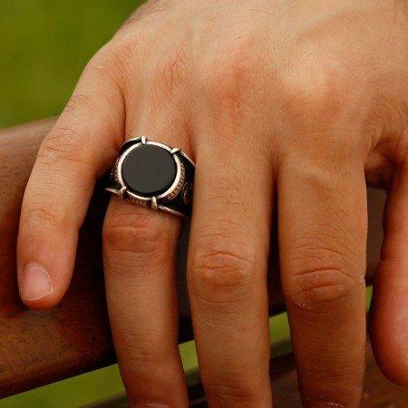 Özel Tasarım Oniks Taşlı Gümüş Pençe Yüzük (model 4) - Thumbnail