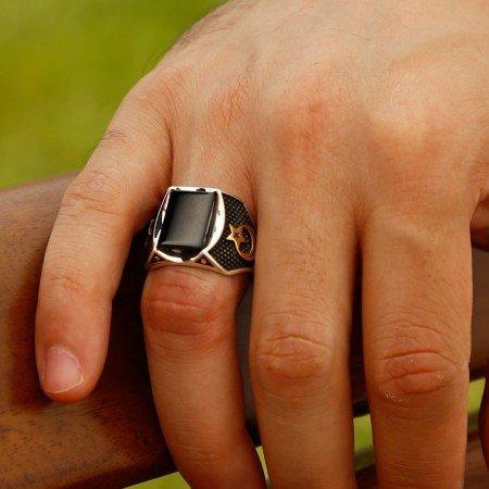 Özel Tasarım Oniks Taşlı Gümüş Yüzük (model 2) - Thumbnail