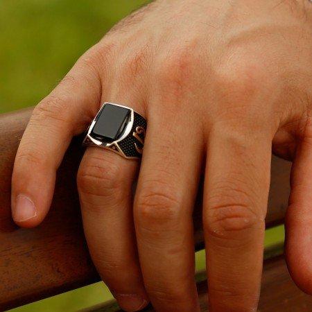 Özel Tasarım Oniks Taşlı Gümüş Yüzük (Model-3) - Thumbnail