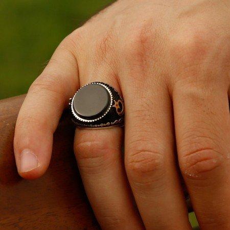 Özel Tasarım Oniks Taşlı Gümüş Yüzük - Thumbnail