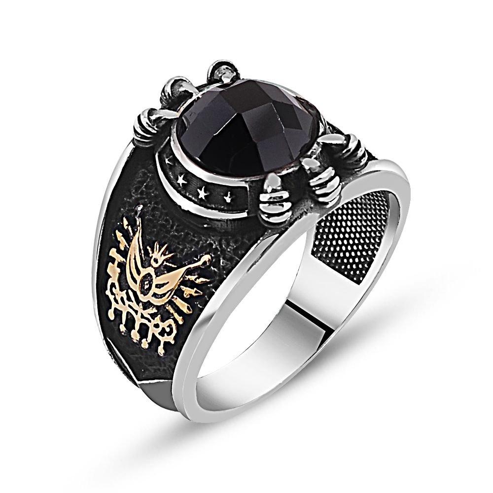 Özel Tasarım Siyah Zirkon Taşlı Gümüş Pençe Yüzük