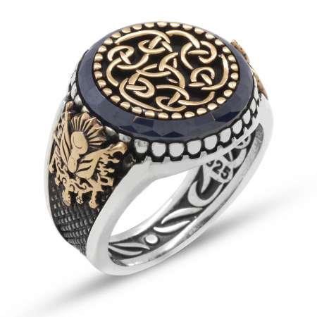 Özel Tasarım Tuğra ve Arma İşlemeli Zirkon Taşlı 925 Ayar Gümüş Yüzük - Thumbnail