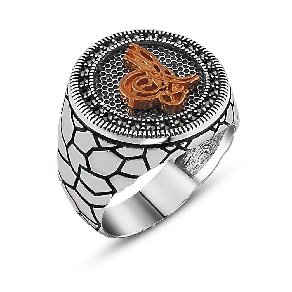 Özel Tasarım Tuğra Yazılı Zirkon Taşlı Gümüş Yüzük