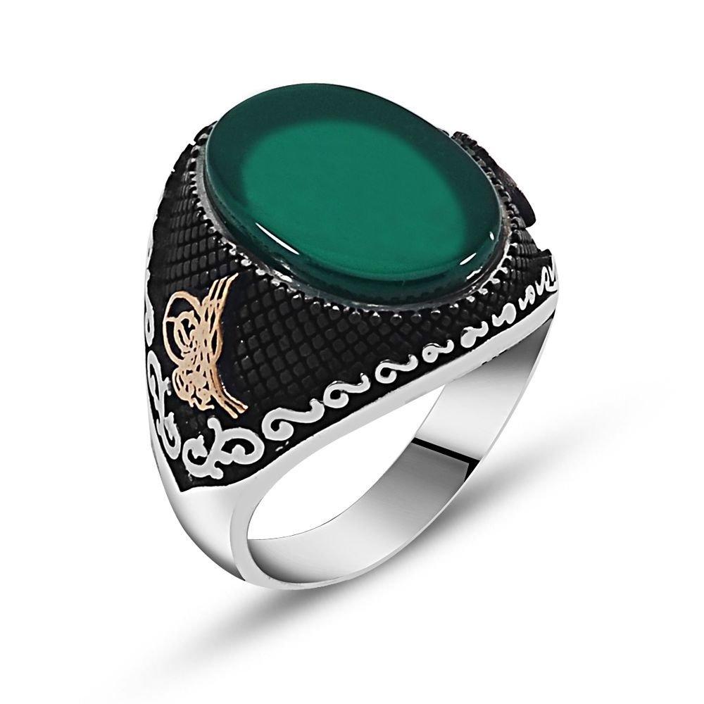 Özel Tasarım Yeşil Akik Taşlı Gümüş Yüzük