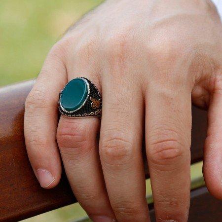 Özel Tasarım Yeşil Akik Taşlı Gümüş Yüzük - Thumbnail