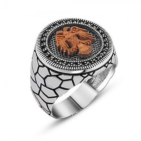 Özel Tasarım Zirkon Taşlı Selçuk Kartal Gümüş Yüzük - Thumbnail