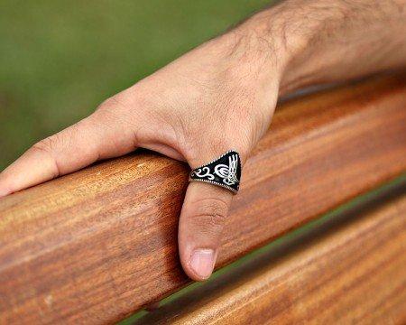 Özel Tuğra Tasarım 925 Ayar Gümüş Okçu (Zihgir) Yüzüğü - Thumbnail