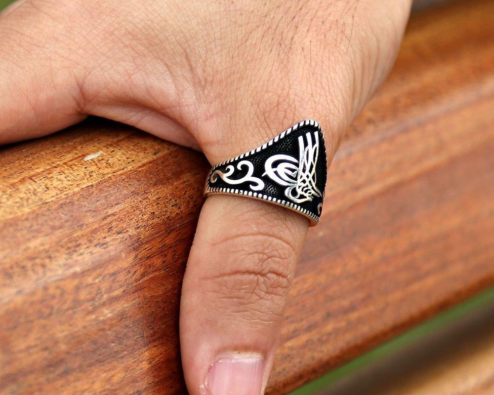 Özel Tuğra Tasarım 925 Ayar Gümüş Okçu (Zihgir) Yüzüğü