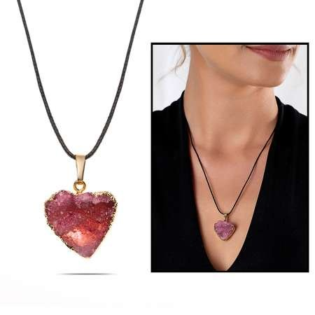 Pembe Kristal Mineral Doğaltaş Kalp Tasarım Bayan Kolye - Thumbnail