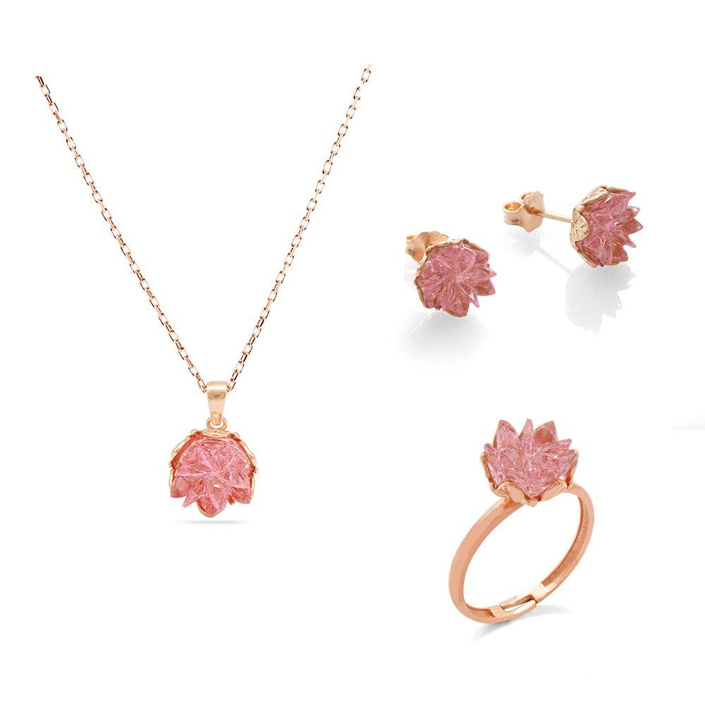 Pembe Zirkon Taşlı Lotus Çiçeği Tasarım 925 Ayar Gümüş 3'lü Takı Seti