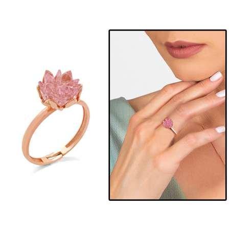 Pembe Zirkon Taşlı Lotus Çiçeği Tasarım 925 Ayar Gümüş 3'lü Takı Seti - Thumbnail