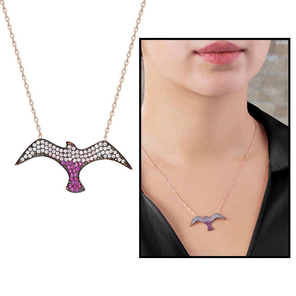 Pembe Zirkon Taşlı Martı Tasarım 925 Ayar Gümüş Bayan Kolye