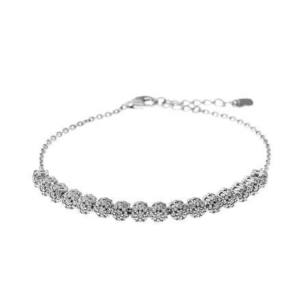 Pırlanta Montür Zirkon Taşlı Oval Tasarım 925 Ayar Gümüş İthal Su Yolu Bileklik - Thumbnail