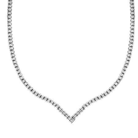 Pırlanta Montür Zirkon Taşlı Şık Tasarım 925 Ayar Gümüş İthal Kolye - Thumbnail