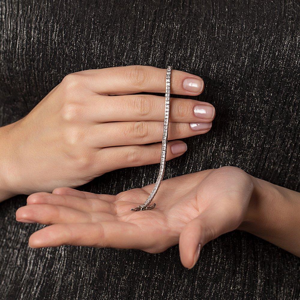 Pırlanta Montür Zirkon Taşlı Şık Tasarım 925 Ayar Gümüş İthal Su Yolu Bileklik