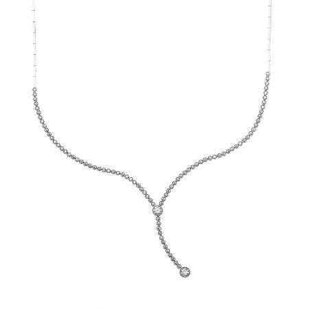 Pırlanta Montür Zirkon Taşlı Zarif Tasarım 925 Ayar Gümüş İthal Kolye - Thumbnail