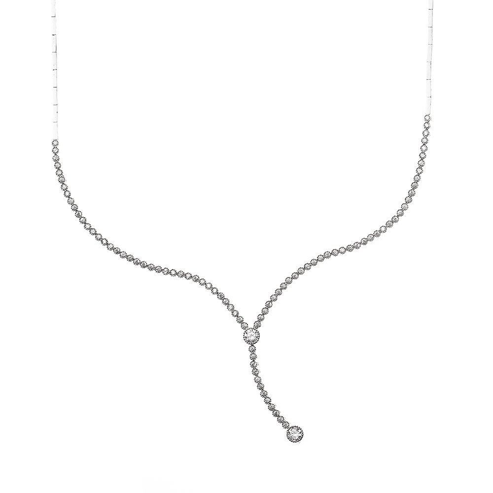 Pırlanta Montür Zirkon Taşlı Zarif Tasarım 925 Ayar Gümüş İthal Kolye