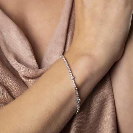 Pırlanta Montür Zirkon Taşlı Zarif Tasarım 925 Ayar Gümüş İthal Su Yolu Bileklik - Thumbnail