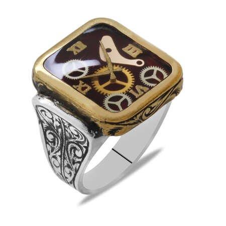 Saat Tasarım Kırmızı Mineli 925 Ayar Gümüş Erkek Yüzük - Thumbnail