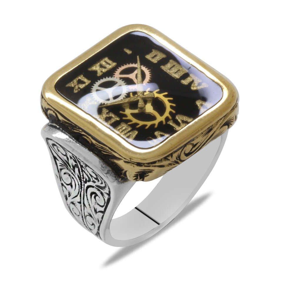 Saat Tasarım Siyah Mineli 925 Ayar Gümüş Erkek Yüzük