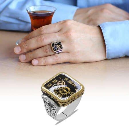 Saat Tasarım Siyah Mineli 925 Ayar Gümüş Erkek Yüzük - Thumbnail