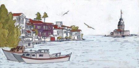 Sahil-Kız Kulesi Manzaralı Kanvas Tablo - Thumbnail