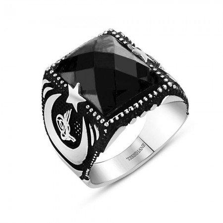 Tuğra ve Ayyıldız İşlemeli Siyah Zirkon Taşlı 925 Ayar Gümüş Yüzük - Thumbnail