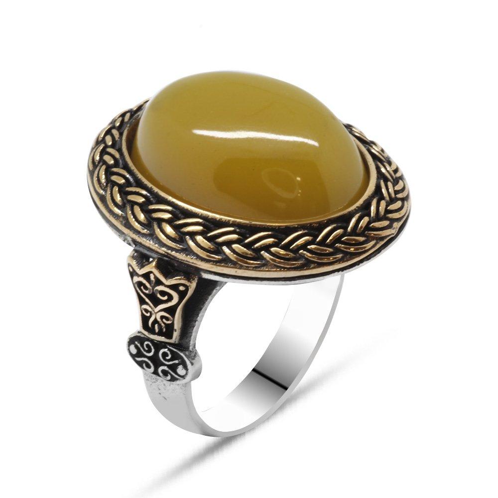 Sarı Ateş Kehribar Taşlı Oval Tasarım 925 Ayar Gümüş Erkek Yüzük