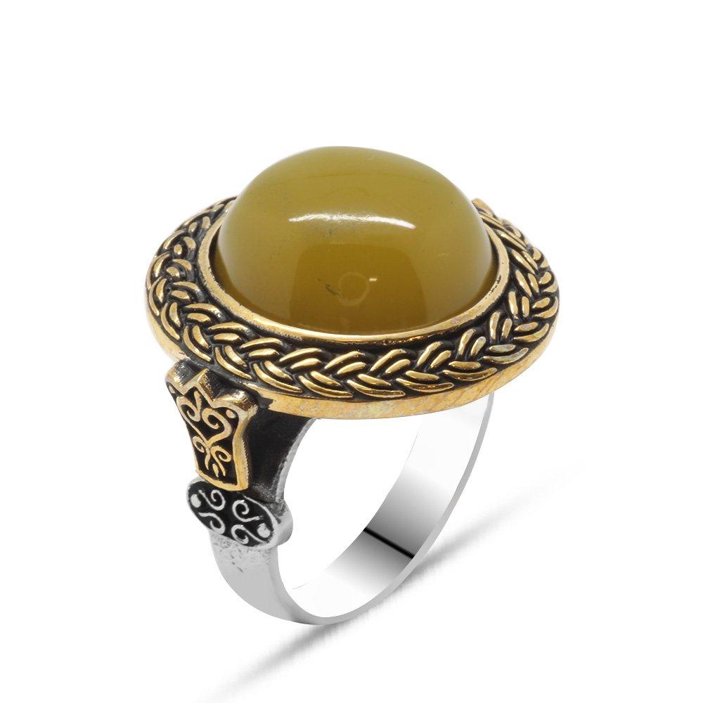 Sarı Ateş Kehribar Taşlı Yuvarlak Tasarım 925 Ayar Gümüş Erkek Yüzük
