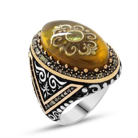 Sarı Kehribar İçine Kilim Deseni İşlemeli 925 Ayar Gümüş Erkek Yüzük - Thumbnail