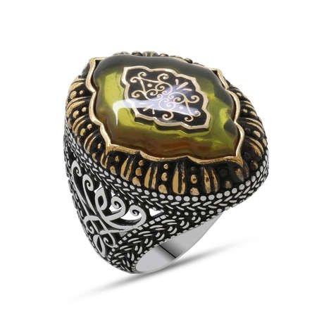 Sarı Kehribar İçine Selçuklu Deseni Motifli 925 Ayar Gümüş Erkek Yüzük - Thumbnail