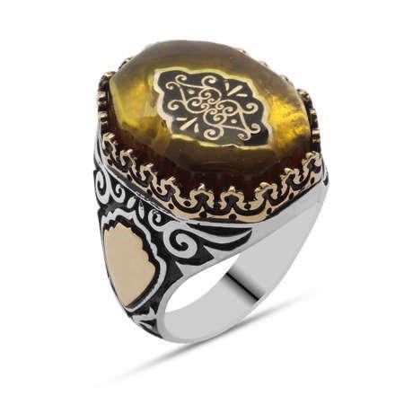 Sarı Kehribar İçine Selçuklu Deseni Motifli Sekizgen 925 Ayar Gümüş Erkek Yüzük - Thumbnail