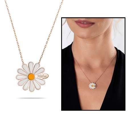 Sarı Mineli Bir Yaprağına Kişiye Özel İsim Yazılı Rose Renk 925 Ayar Gümüş Papatya Kolye - Thumbnail