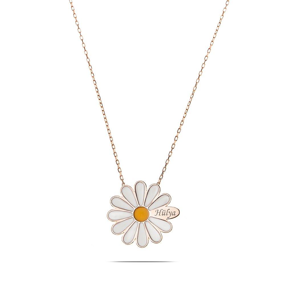Sarı Mineli Bir Yaprağına Kişiye Özel İsim Yazılı Rose Renk 925 Ayar Gümüş Papatya Kolye