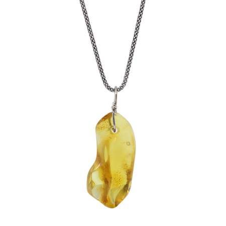 Sarı Renk Doğal Damla Kehribar Taşlı Kolye (M-1) - Thumbnail