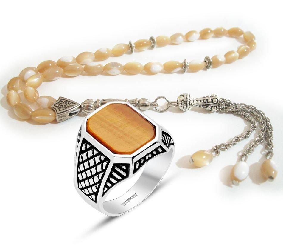 Sarı Sedef Tesbih ve Gümüş Kaplangözü Yüzük Kombini