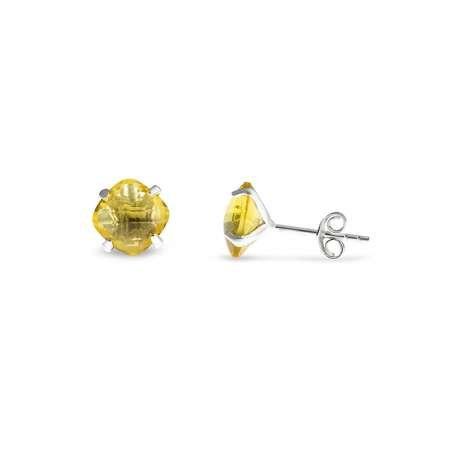 Sarı Zirkon Taşlı Oval Tasarım 925 Ayar Gümüş Kadın Küpe - Thumbnail