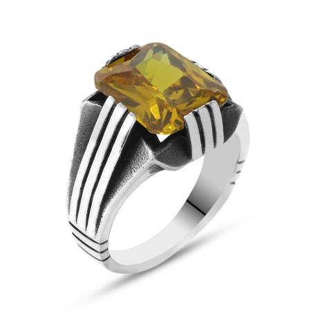 Sarı Zirkon Taşlı Zarif Tasarım 925 Ayar Gümüş Erkek Yüzük - Thumbnail